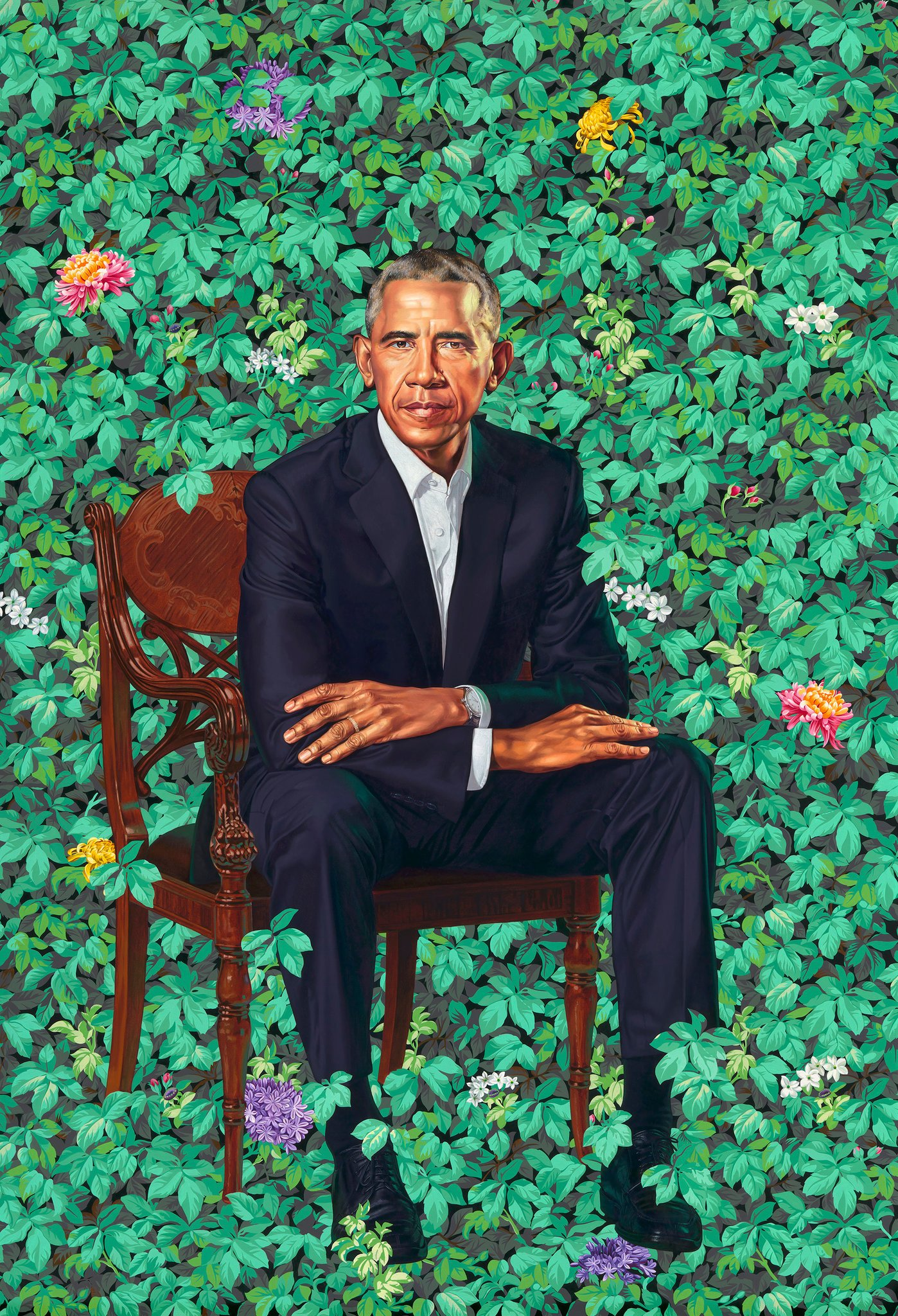 Presidential portrait of Barack Obama by Kehinde Wiley